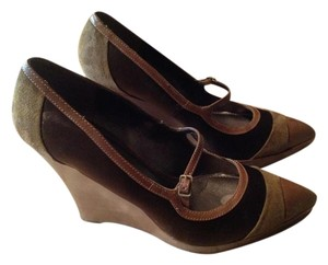 Circa Joan & David Dark Green/Brown Wedges