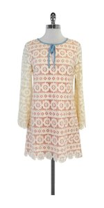 Juicy Couture short dress Cream & Pink Eyelet Long Sleeve Shift on Tradesy