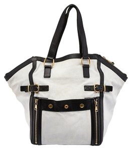 Saint Laurent Yves Downtown Canvas Leather Tote in Black & White