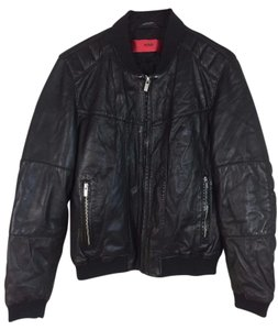 Hugo Boss Bomber Leather Men's Biker Leather Jacket