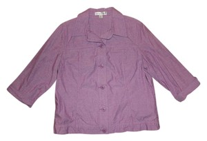 Coldwater Creek Cuffed Sleeve Button Down Shirt Purple