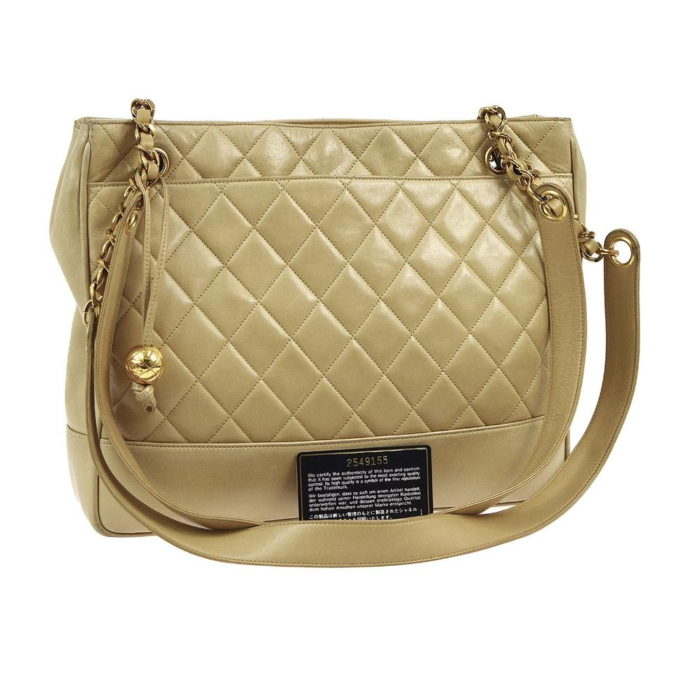34a05fc89c1b93 Chanel Quilted Cc Gold Chain Beige Lamb Leather Shoulder Bag - Tradesy