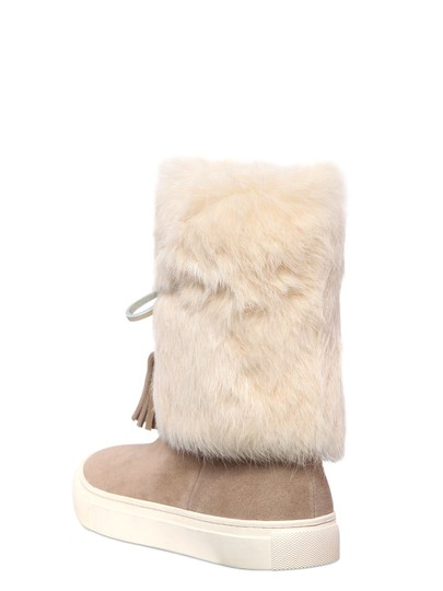 Tory Burch Angelica Fur NATURAL Boots Image 1