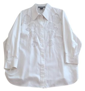 Ellen Tracy Flowers Button Down Shirt off white