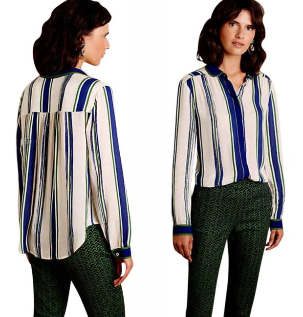 Anthropologie Semi Sheer Piping Detail Breezy Back Super Nice Tailoring Front Button Down Shirt Green Blue Image 1
