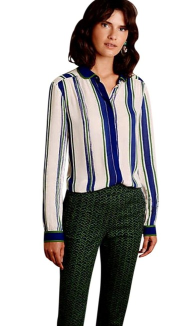 Anthropologie Semi Sheer Piping Detail Breezy Back Super Nice Tailoring Front Button Down Shirt Green Blue Image 2