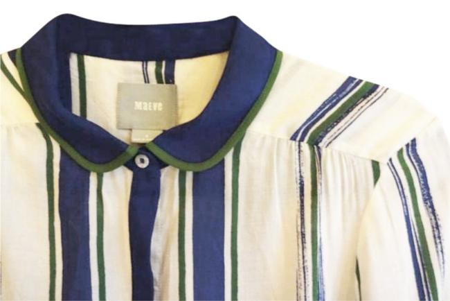Anthropologie Semi Sheer Piping Detail Breezy Back Super Nice Tailoring Front Button Down Shirt Green Blue Image 6