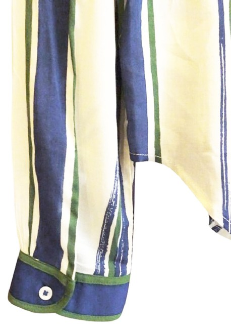 Anthropologie Semi Sheer Piping Detail Breezy Back Super Nice Tailoring Front Button Down Shirt Green Blue Image 7