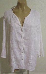 Eileen Fisher Collar Sleeves Button Down Shirt White