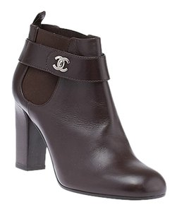Chanel Ankle Leather Brown Boots