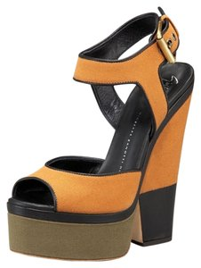 Giuseppe Zanotti Colorblock Chunky Wedge Heel Canvas Black Taupe Olive Platforms