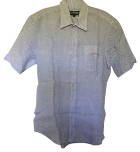 Vilebrequin Mens Checkered Button Down Shirt blue and white