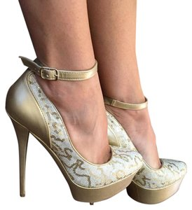Bakers Nude and Gold Platforms