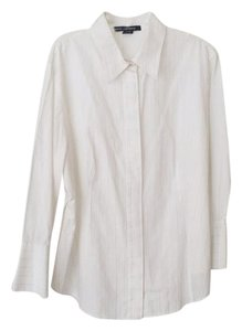 Ellen Tracy White Silver Pinstripe Button Down Shirt Whitw