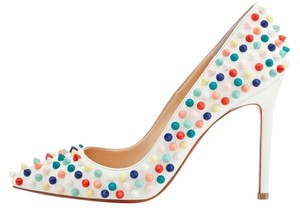 Christian Louboutin Studded Spike Pump Heel White/Multi Pumps