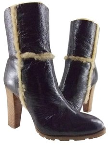Casadei Espresso or White Leather & Shearling Lined Boots