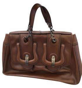 Fendi Large Patent Fi.j1029.14 Satchel in Brown
