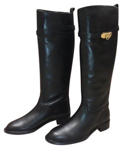 Salvatore Ferragamo Round Toe Lining Leather Knee High Black Boots