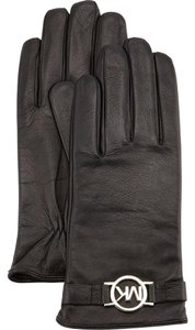 Michael Kors MICHAEL KORS BLACK LEATHER GLOVES SILVER LOGO 536582C M TECH FRIENDLY