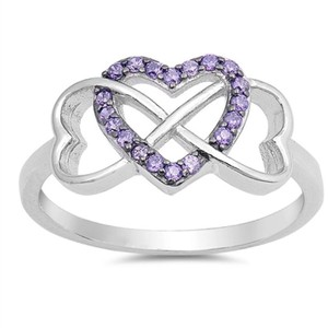 9.2.5 Very unique purple amethyst infinity heart ring. Size 7