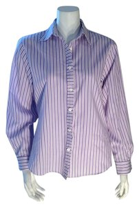Foxcroft Buttondown Wrinkle Free Size 4 Top Lavender, Purple, White