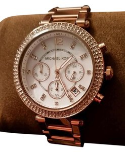 Michael Kors MICHAEL KORS ROSE GOLD TONE CHRONOGRAPH PAVE CRYSTALS BLING WATCH NEW