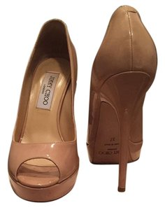 Jimmy Choo Patent Leather Crown Nude Pumps