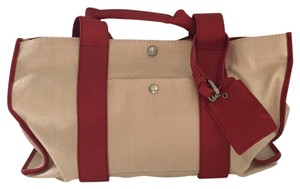 Theory Satchel in Natural with Red trim