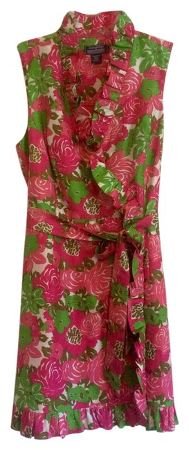 Item - Pink Green & White Floral Kentucky Derby Run For The Roses 2016 Ruffle Short Casual Dress Size 12 (L)