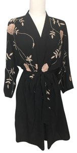 Anthropologie Kimono Embroidery Glam Top Black/Cream