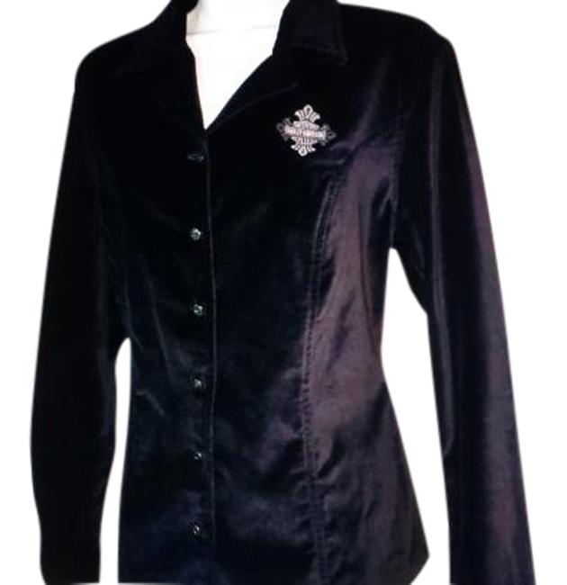 Preload https://img-static.tradesy.com/item/20229509/harley-davidson-black-velvet-button-front-shirt-women-s-s-nwot-button-down-top-size-6-s-0-1-650-650.jpg
