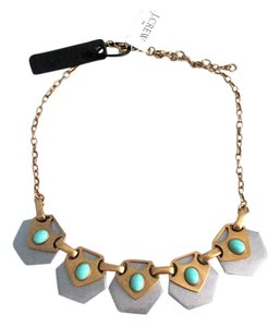 J.Crew J Crew Statement Necklace Turquoise Bead Brass Silver Boho Style