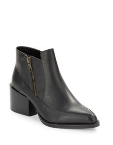SOLD Design Lab Zipper Ankle Modern Leather Black Boots