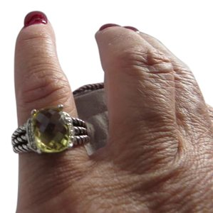 David Yurman Petite Wheaton Prasiolite and Pave' Diamond Ring