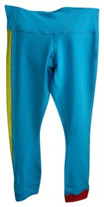 Lululemon Wunder Under Amped Crops in Turquoise Red Yellow Stripe Sz 4