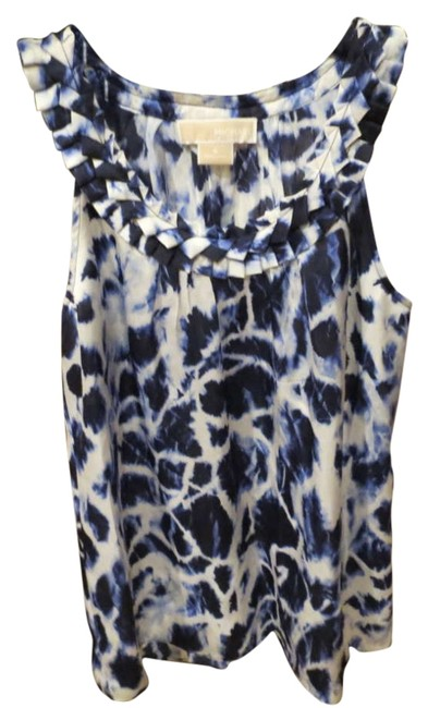 Preload https://item1.tradesy.com/images/michael-kors-blue-and-white-silk-tank-blouse-size-4-s-202300-0-0.jpg?width=400&height=650