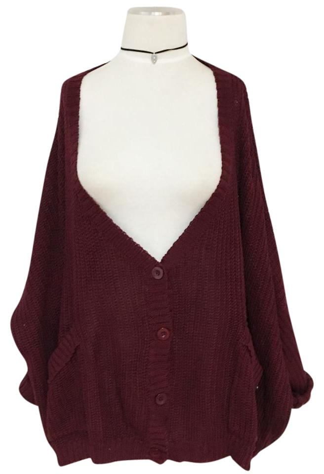 dc514a8be3 LF Burgundy Oversized Loose Slouch Pockets Button Up Knit Sweater Cardigan