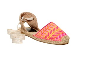 Soludos Linen Espadrille Lace Up Multi pink Sandals