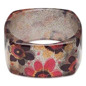 Square Bangle Sparkly Mod Retro Flowers