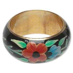 World Artisan Painted Enameled Flower Chunky Statement Bangle Bracelet from India