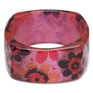 Other Square Bangle Sparkly Mod Retro Flowers