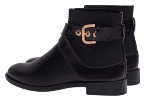 Zara Flat Fall Buckle Black Boots