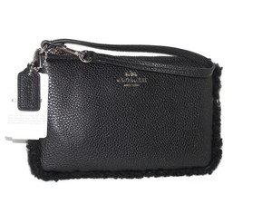 Coach Coach Shearling Black Pebbled Leather Wristlet 64709