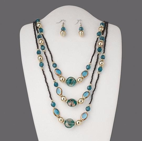 Blue Aqua Glass Necklace and Earrings Jewelry Set Image 1