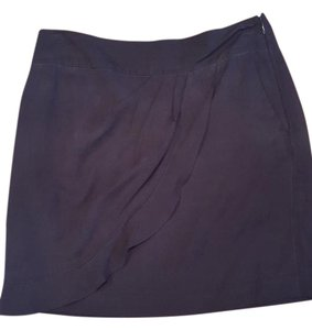 Ann Taylor LOFT Silk Pockets Slate Draped Pleated Mini Skirt gray