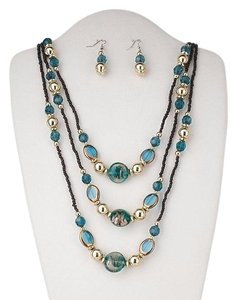 Aqua Glass Necklace And Earrings Set