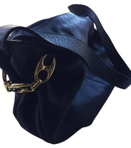Bruno Magli Navy Blue Leather with Gold Hardware Messenger Bag