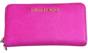 MICHAEL Michael Kors MICHAEL KORS 3 Pocket Hot Pink Zipper Wallet