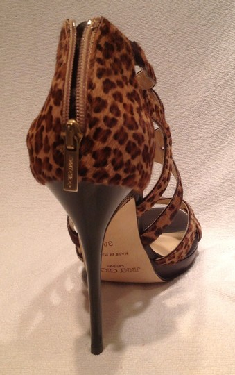 Jimmy Choo Stiletto Multicolor- Leopard Print Pony Sandals