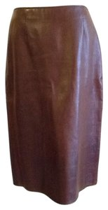 Vakko Leather Made In China Dryclean Only Lining Skirt rusty brown